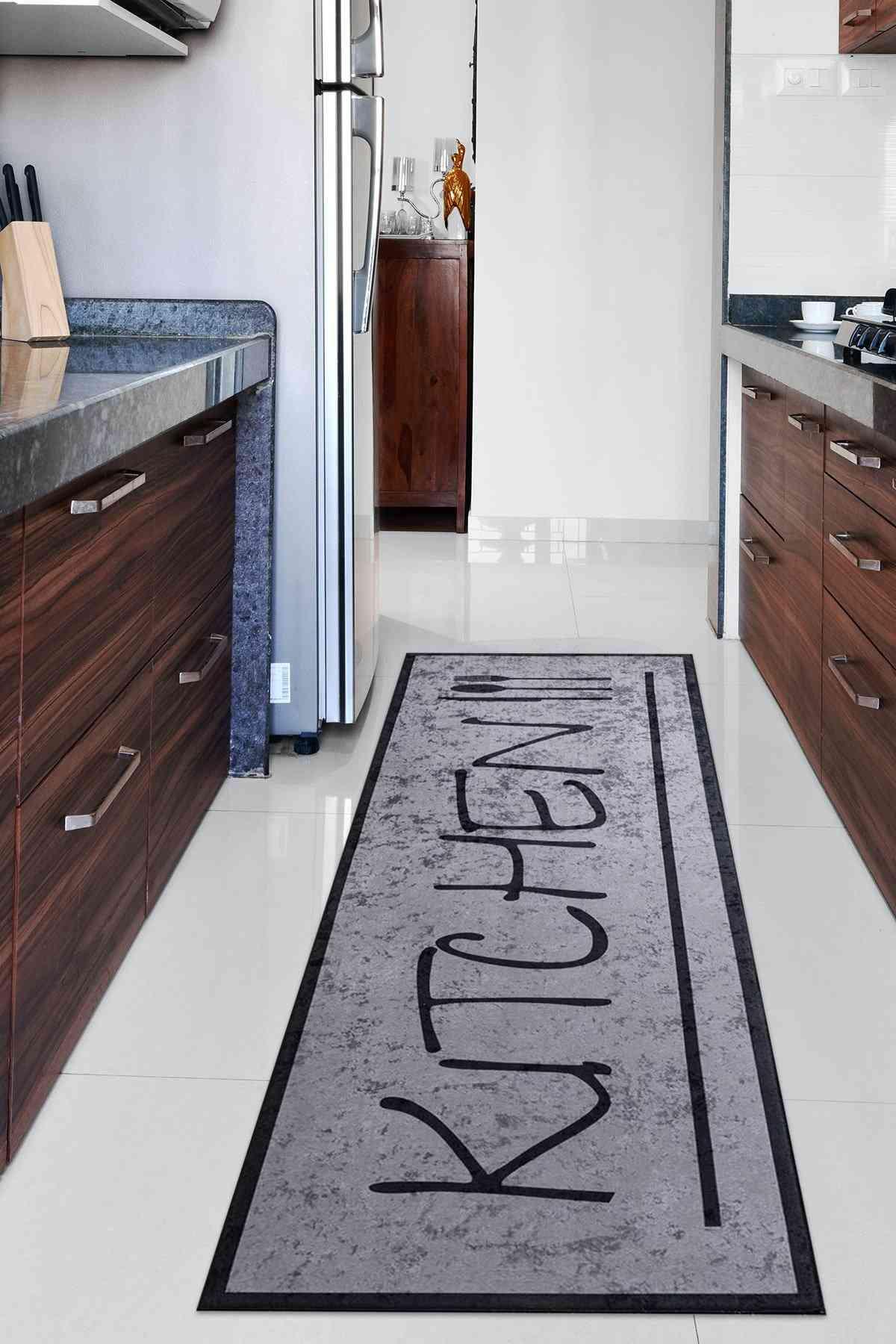 Kitchen Gri Mutfak Halısı